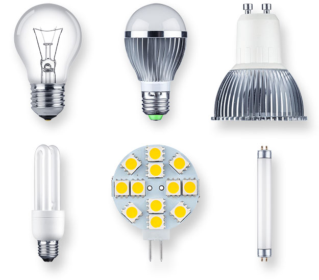 Picture of Incandescent, Fluorescent, halogen, and LED light bulbs